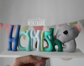 CUSTOM KOALA NAME, Baby name sign, Name plaque, Door sign, Baby Name, Nursery Decor, Baby Gift, Baby Shower present, Baby Koala