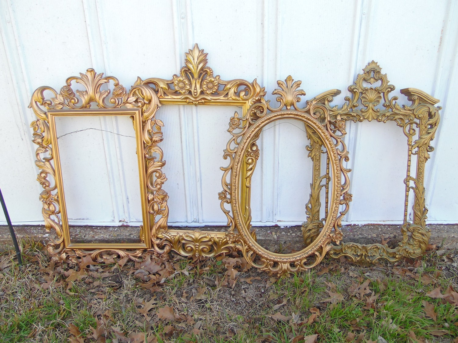 Large Gold Frame Glasses : LARGE Gold Ornate Frame Set Syroco Mirror Frames Gallery Wall