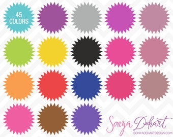 80% OFF Sale Clipart Circle Starbursts Labels 45 Colors Commercial Use