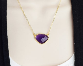 Gold Amethyst Necklace - Amethyst Pendant Necklace - Bezel Gemstone Necklace - Gemstone Pendant - Gold Purple Necklace