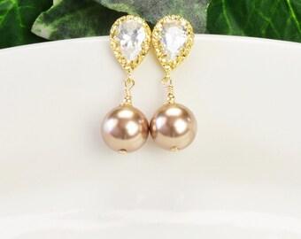 Gold Pearl Earrings - Gold Cubic Zirconia Earrings - Gold Bronze Pearl Bridesmaid Earrings - Bridal Jewelry - Pearl Bridesmaid Jewelry