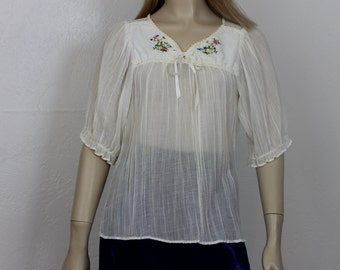 Vintage 1970s Sheer Gauzy Blouse -By Spare Parts California