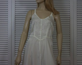 Vintage 1940s Full Slip Acetate White Medium