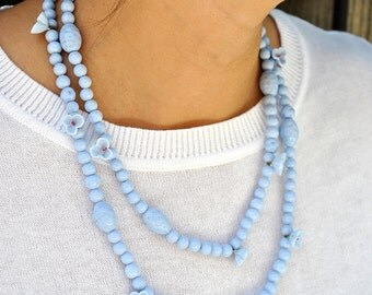 GABLONZ CZECH BEADS  blue necklace. Marked made in japan.