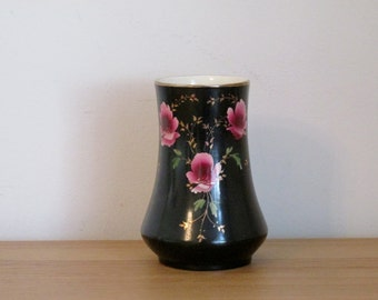 Art Nouveau Black Vase with Hand Painted Pink Flowers Edwardian Antique