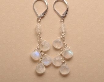 Moonstone Earrings, Dangle Earrings, Moonstone Dangle, Long Gemstone Earrings, June Birthstone