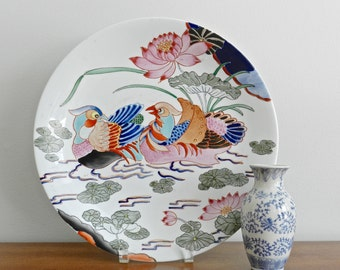 Vintage Chinese Porcelain Ware Tray Large Decorative Round Plate Palm Beach Chinoiserie Chic