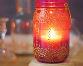 Henna Inspired Mason Jar Lantern, Hot Pink Glass With Golden Accents