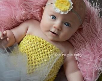 Yellow & Gray Headband -  Petite Newborn Baby Photo Prop - Flower Girl - Grey - You are my Sunshine