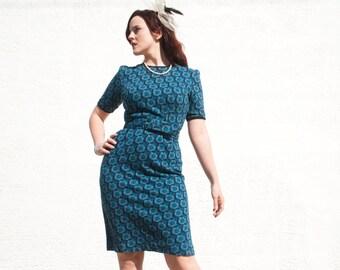 Blue floral mini dress, black knit wiggle, short sleeve mod 1960s M L SALE