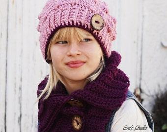 Crochet Children's Hat and Neck Warmer, Crochet Set, Pattern PDF, Hat Crochet Pattern ,Pattern No. 76
