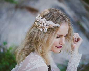 Rose Gold Lace Bridal Headpiece / hair comb - Hand Made - Teeki