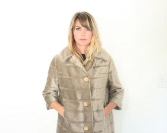 Vintage Faux Fur Coat 60s Ash Blonde Fuzz Jacket