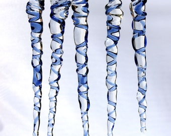 Icicle Ornaments Blue Glass Christmas Holiday Decor, Hand Blown Glass Borosilicate, Natural USA Made