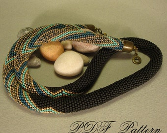 beaded crochet rope necklace zigzag pattern and brief working instructions - PDF