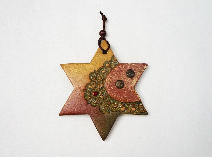 Gold Star Wall Decor: Handmade Star Of David Wall Decor Gold Copper Six Point Star
