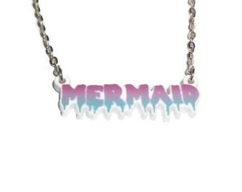 Mermaid Necklace, Kawaii Grunge, 90's Style Dripping Kawaii Pastel Goth Laser Cut Creepy Cute