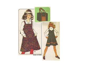 McCall's 5665 Sewing Pattern 1970s School Girls Jumper Romper Apron Dress Boho Hippie Style Beach Bag Tote Uncut Size 8 Bust 27