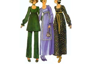 Simplicity 9617 Sewing Pattern 70s Boho Hippie Style Peasant Dress Tunic Bell Bottom Pants High Waist Loose Fit Size 10 Bust 32