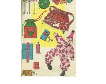 McCall's 2469 Sewing Pattern Retro Mod 60s Crafts Clown Doll Apron Purse Book Cover Toys Eyeglass Case Makeup Bag Uncut FF