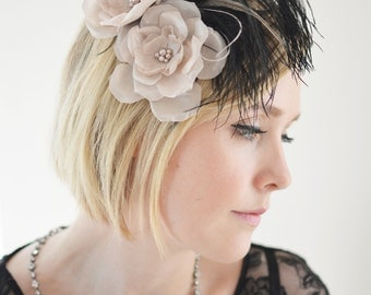 1920s Black Feather Hair Clip, Flapper, Great Gatsby fascinator, Hair Flower Black and Blush - Clara
