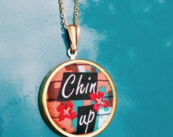 Chin Up- Printed Fabric Pendant Necklace