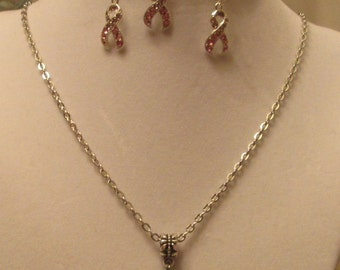 Pink Ribbon Breast Cancer Awareness Necklace, Earrings, and Bracelet Set