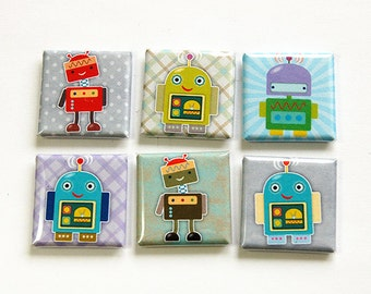 Robot Magnets, Fridge Magnets, Kitchen Magnets, Magnet set, Square Magnets, Robots (4613)