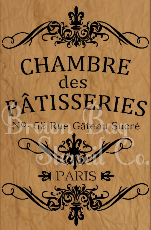 French stencil chambre des patisseries patisseries french for Chambre in french