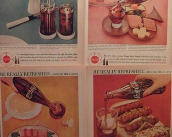 COCA-COLA DINER Print Decor (4) Original Vintage 1960 Ads Kitchen Prints Retro Cafe Decor Ready To Frame Additional Ads Ship Free