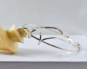 Twisted Bangle   Sterling Silver  Bracelet   Freeform Squiggle Design   OOAK
