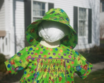 Smocked Bubble and Hat Set