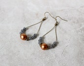 SALE 40% OFF - Copper + Angelite Earrings, Infinity Hoop Earrings, Featherlight Earrings