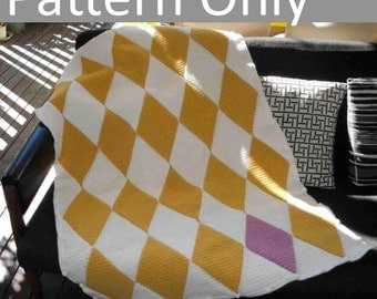 Crochet Pattern - Harlequin Blanket / Afghan - Beginner Level onwards