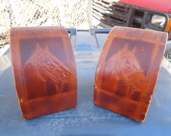 Vintage Horse Bookends Embossed Leather Saddle Cowboy Boots