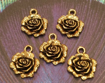 Gold Rose Charm - 4 pieces-(Antique Gold Finish)-