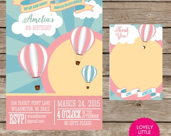 Hot air balloon invitation Etsy