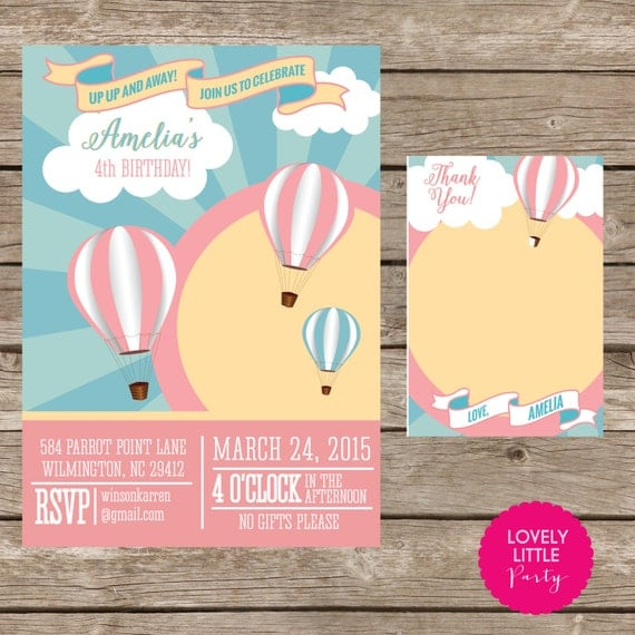 DIY Hot Air Balloon Invitation Kit - Invite AND Thank You Card included
