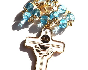 First Communion Gift, Catholic Rosary, December Birthstone, One Decade Rosary, Turquoise Blue Rosary, First Holy Communion Gift, Gold Rosary