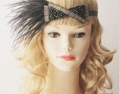 20s Inspired Black Gold Beads Beaded Headband - Flapper Girl Hairpiece Headpiece 1920 20s