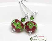 Clearance: Lampwork earrings, red earrings, glass earrings, sterling silver earrings, beaded dangle earrings, drop earrings