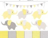 Yellow and Gray Baby Elephants 13 Piece Digital Clip Art and Backgrounds Set - Baby Shower, Unisex, Neutral, Elephant, Baby Animal