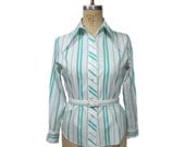 vintage 1960s striped blouse / Melray / white turquoise / belted / pointed collar / 60s fitted blouse / women's vintage blouse / size medium