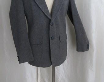 Vintage 70s mens blazer, grey camel hair wool jacket, sportcoat, sportsjacket, suit jacket,  size 42 deBenedetto New York Milan