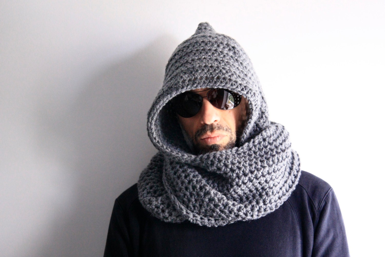 hooded scarf: NEW 337 MENS HOODED INFINITY SCARF