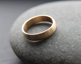 5mm mens wedding ring in recycled 9ct yellow gold, half-round profile, brushed finish - custom made to fit
