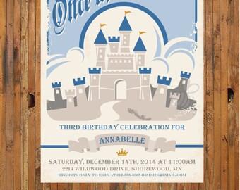 Retro Disney birthday invitation - Castle Birthday Invite -1st, 2nd, 3rd, 4th, 5th, 6th, 7th, 8th Birthday Invitation - Item 0210
