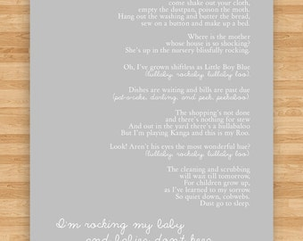 8x10 Art Print - Lullaby Poem - Song for a Fifth Child by R.H. Hamilton  - Babies Don't Keep - Gray/Natural
