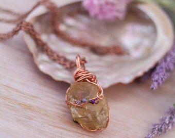 Lemon Quartz Copper Necklace -  Wire Wrapped Lemon Quartz - Crystal Necklace - Gemstone Necklace - Boho Necklace - Quartz Necklace