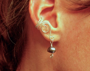 EAR CUFFS Pair of Solid Sterling Silver Ear Cuffs with Genuine Peacock Fresh Water Pearls